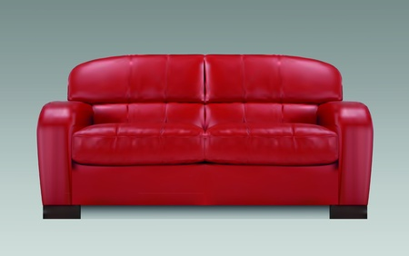 Red sofa on grey background