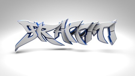 3D graffiti  white Stock Photo - 19581717