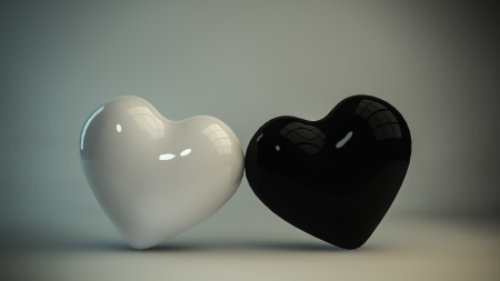 Black and white heart 3D photo