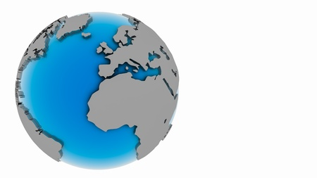 Blue globe 3D with slight shadow Stock Photo