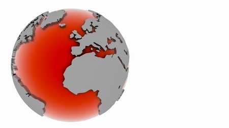 Red globe 3D with slight shadow
