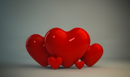 Red heart shape 3d, Valentines day Stock Photo