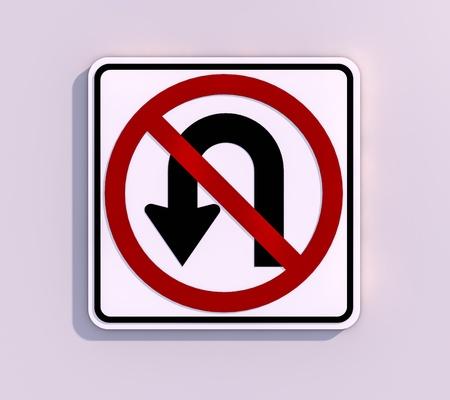 no u turn sign: No U -Turn 3D render image