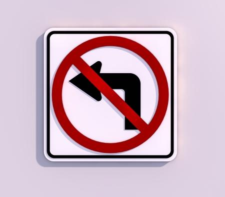 turn left: No Left Turn 3D render immagine Archivio Fotografico