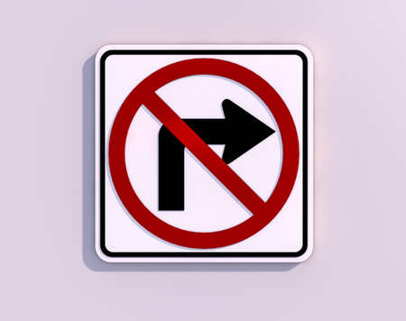 No Turn Right 3D render image