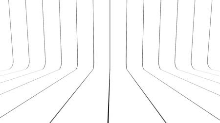 Ribbon wall white 3d render