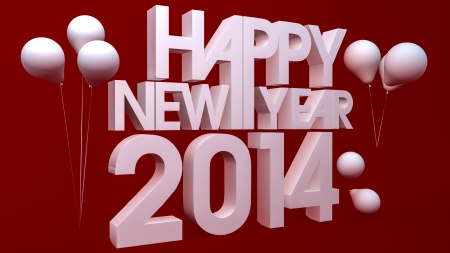 Happy new year 2014 3d render photo