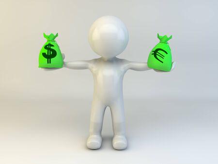 3d Man with money bag dollars and euros Stock Photo