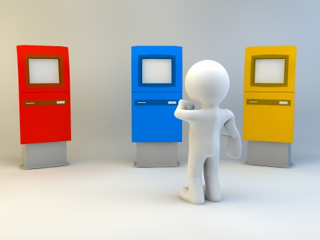 payee: 3d man with ATM machine