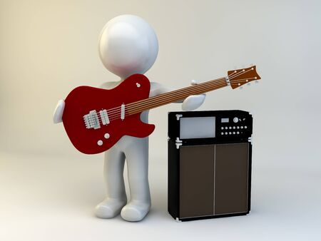 live band: 3D man play guitar with amp