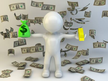 3d man with money bag and gold photo