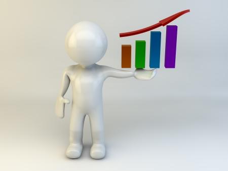 3D man show chart graph