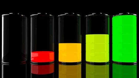 glass half full: 3D battery set with color levels
