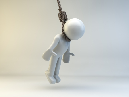 himself: 3D man hanging himself Stock Photo