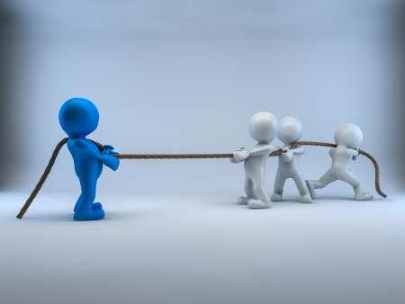 Tug of war 3d Characters Stock Photo