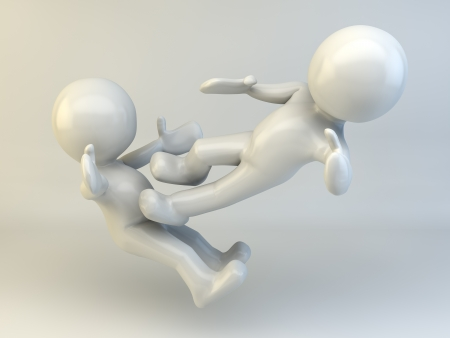 3D man  character fight concept