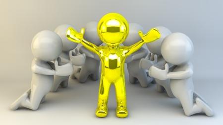 implore: 3d man believe in 3d man gold Stock Photo