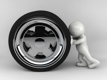 shove: 3D man character shove wheel Stock Photo