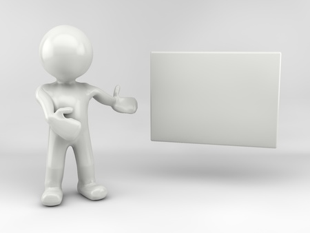 3d man with white board