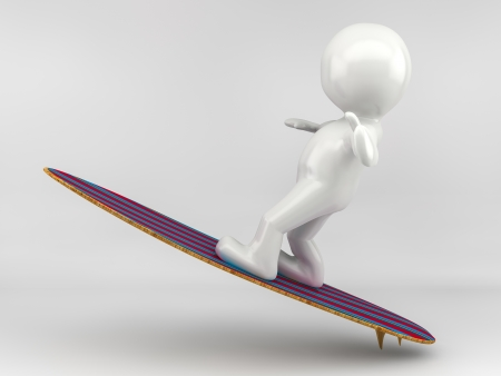 3D Illustration of a Man Surfing Stock Photo