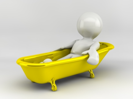 3d render of cartoon characer with old bath Standard-Bild