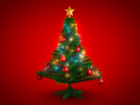 Christmas tree on red background photo