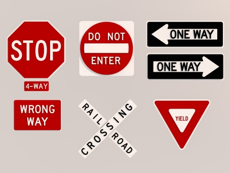 yield sign: Traffic signs 3D render image
