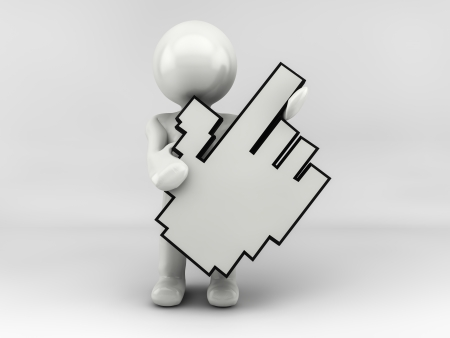 3D man person pointing with big mouse cursor  photo