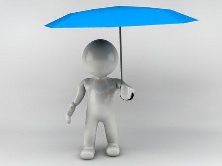 3D man standing with an blue umbrella