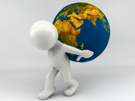 3d man holding earth globe on his shoulders photo