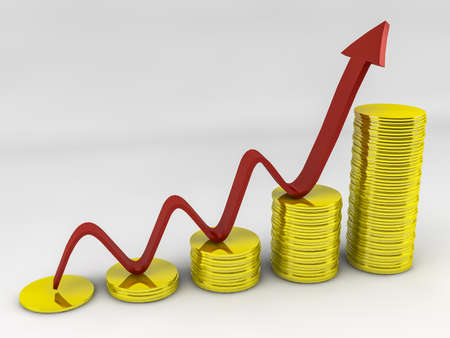 Arrow up with Gold Coins Stock Photo