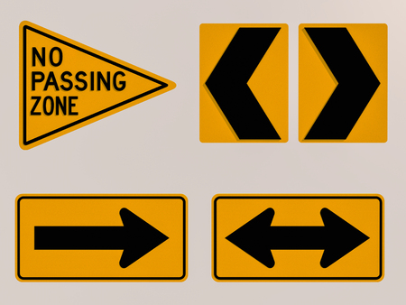 Traffic signs 3D render image photo