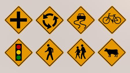 Traffic signs 3D render image