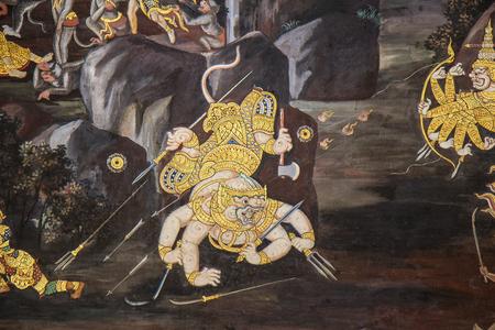 Thai Mural Painting on the wall, Wat Phra Kaew