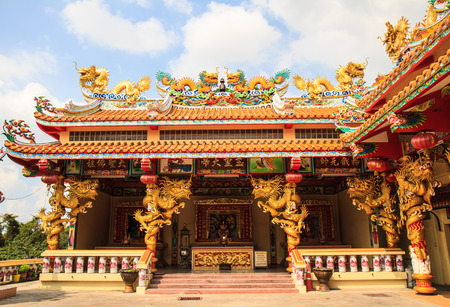 buddhist temple roof: Dragon joss house in Bangkok,Thailand