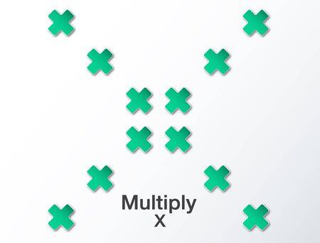 multiplicar: resumen de antecedentes con multiplican verde Vectores