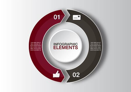 Vector circle arrows for infographic. Template for diagram, graph, presentation and chart. Business concept with 2 options
