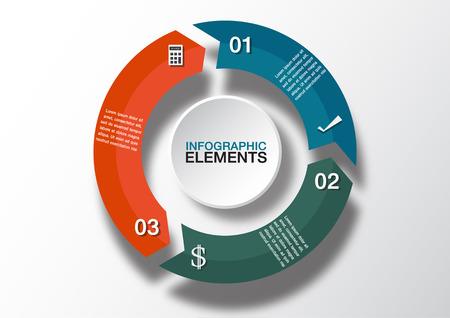 Flechas Vector círculo de infografía. Plantilla para el diagrama, gráfico, presentación y gráfico. Concepto de negocio con 3 opciones Foto de archivo - 38937426