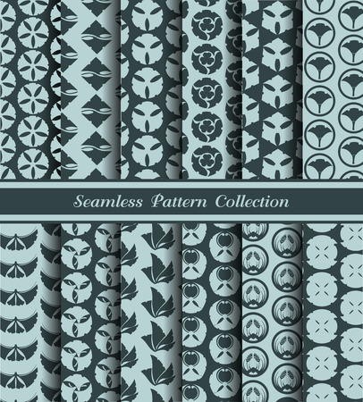 12 different japan traditional seamless patterns