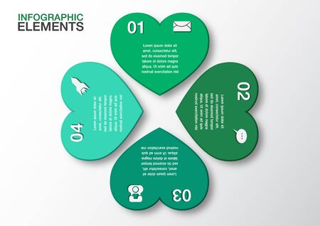 green heart: Modern green heart infographics options banner,business concept with 4 options