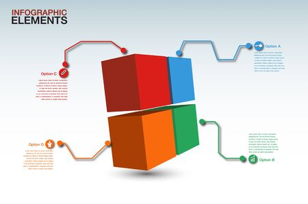 abstract 3d box infographic elements,4 option
