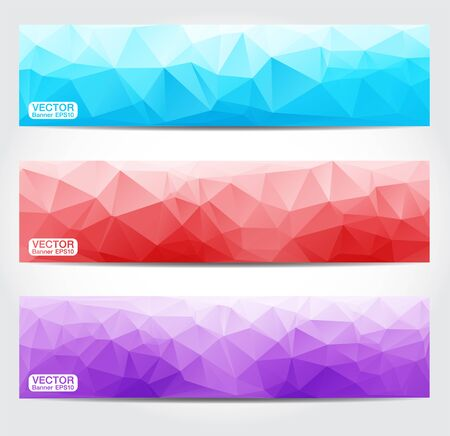 Banners with Multicolored Polygonal . Geometric Triangular Abstract Modern Vector Illustration