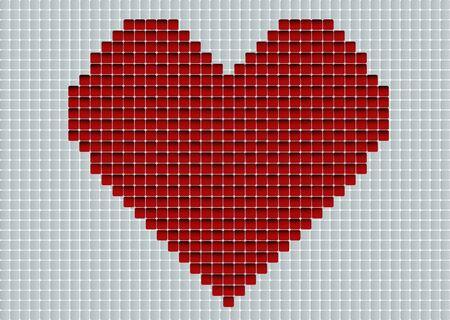 acquaintance: Digital love. Red heart in pixel