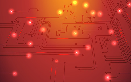 circuit board vector orange background