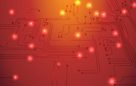 circuit board vector orange background