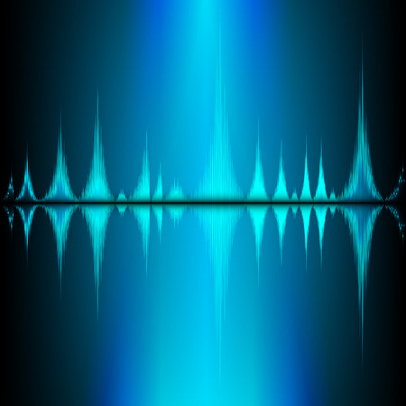 vibrations: Sound waves oscillating on black background Illustration