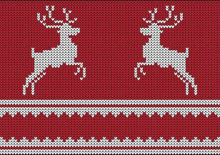 Christmas vector background jumper with reindeers
