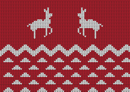 red Christmas ornamental embroidery with deers vector background
