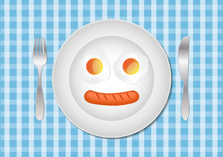 food plate: Fried eggs and sausage on plate food ingredients illustration Illustration