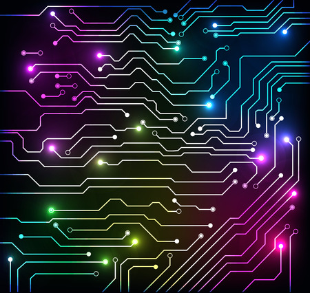 circuit board abstract colorful background Illustration